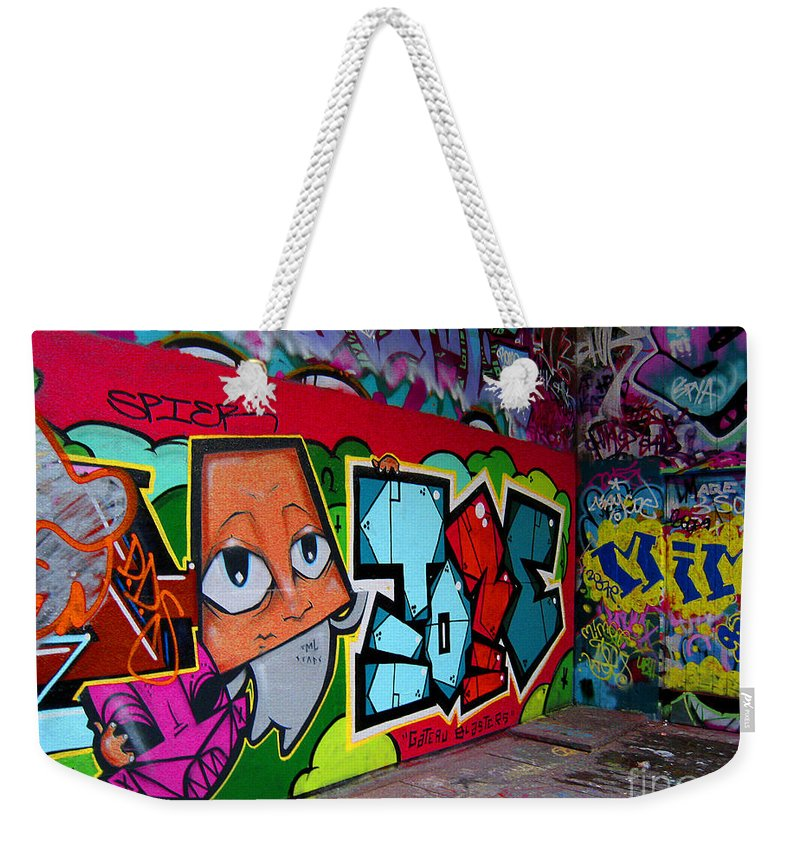 Graffiti Weekender Tote Bag featuring the photograph Graffiti London Style by Madeline Ellis
