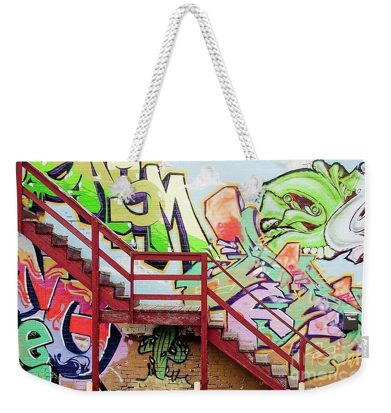 Graffiti Weekender Tote Bag featuring the photograph Graffiti Steps by Kimberly Farmer
