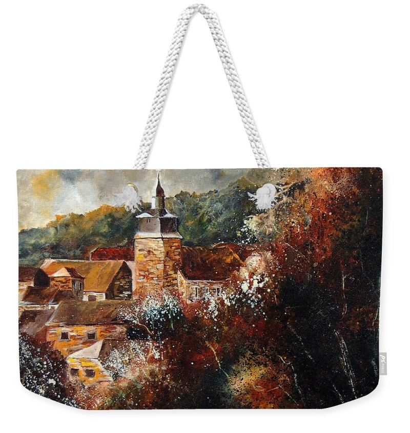 Village Weekender Tote Bag featuring the painting Graide Village Belgium by Pol Ledent