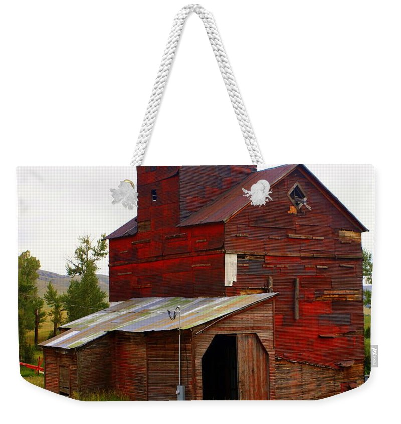 Grane Elevator Weekender Tote Bag featuring the photograph Grain Elevator by Marty Koch