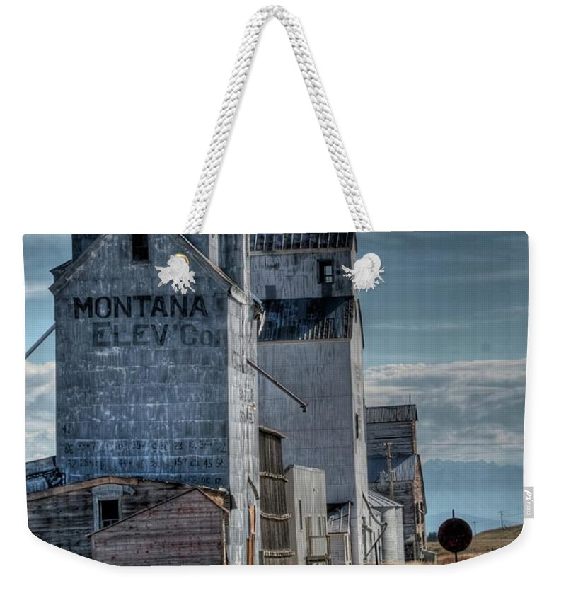 Grain Elevator Weekender Tote Bag featuring the photograph Grain Elevators, Wilsall by Dave Rennie