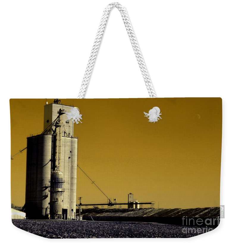 Rural Weekender Tote Bag featuring the photograph Grain Storage Infrared No2 by Alan Look