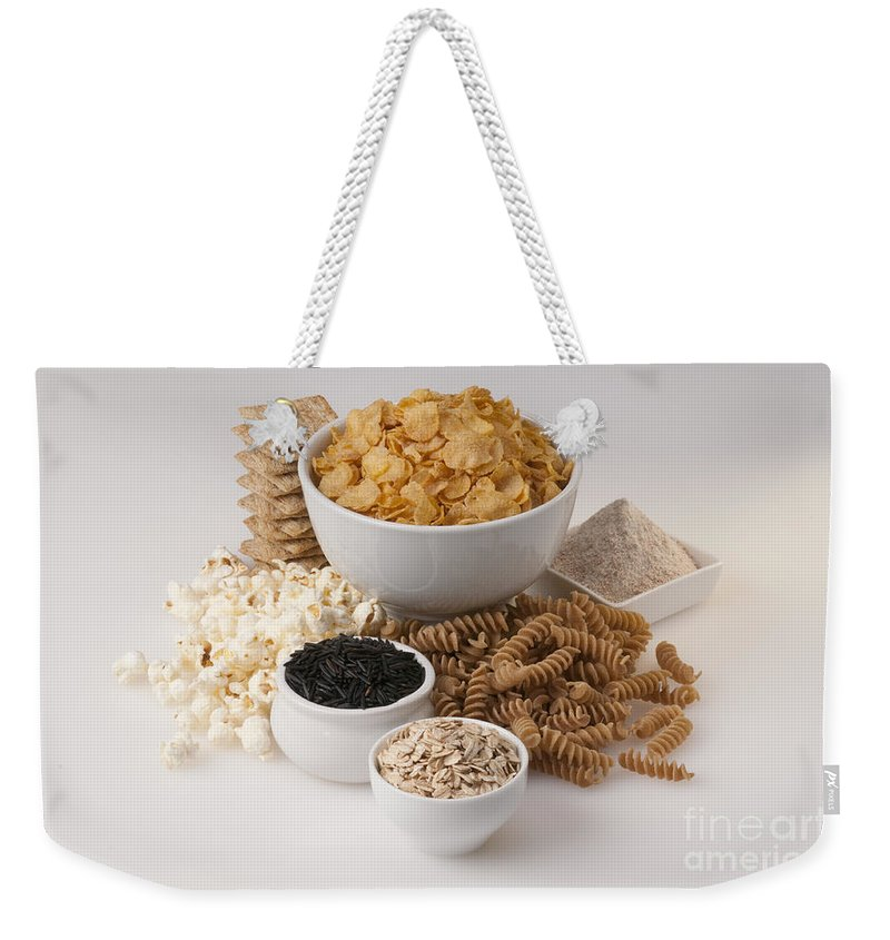 Corn Flakes Weekender Tote Bag featuring the photograph Grains by George Mattei