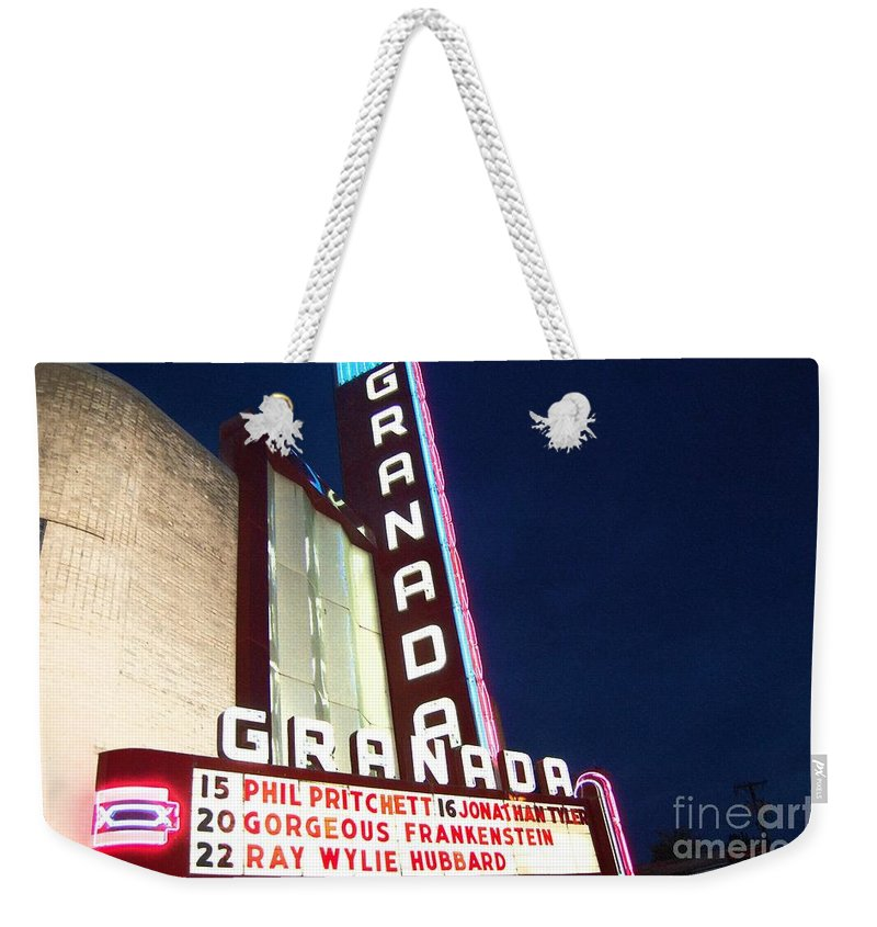 Music Weekender Tote Bag featuring the photograph Granada Theater by Debbi Granruth