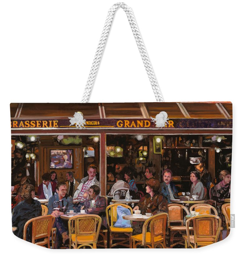 Brasserie Weekender Tote Bag featuring the painting Grand Bar by Guido Borelli