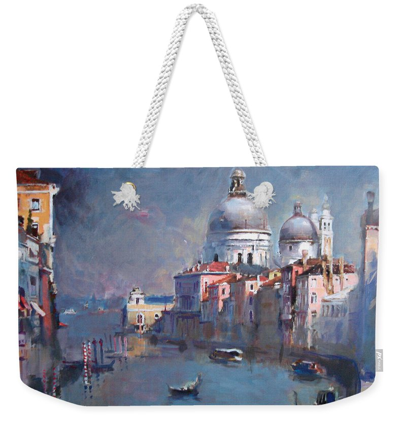 Landscape Weekender Tote Bag featuring the painting Grand Canal Venice by Ylli Haruni