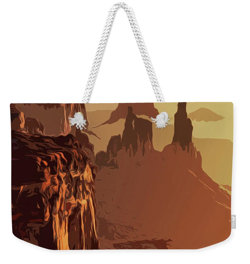 Canyon National Park Weekender Tote Bag featuring the painting Grand Canyon - Usa by Andrea Mazzocchetti
