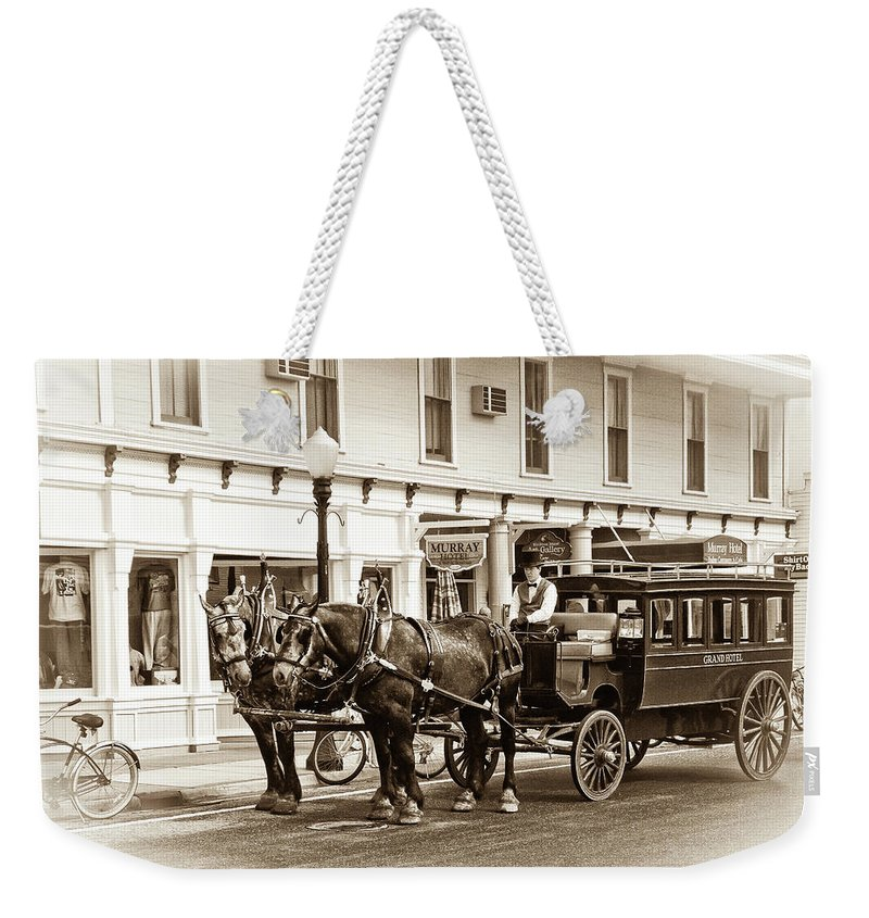 Michigan Weekender Tote Bag featuring the photograph Grand Hotel Shuttle 10331 by Guy Whiteley