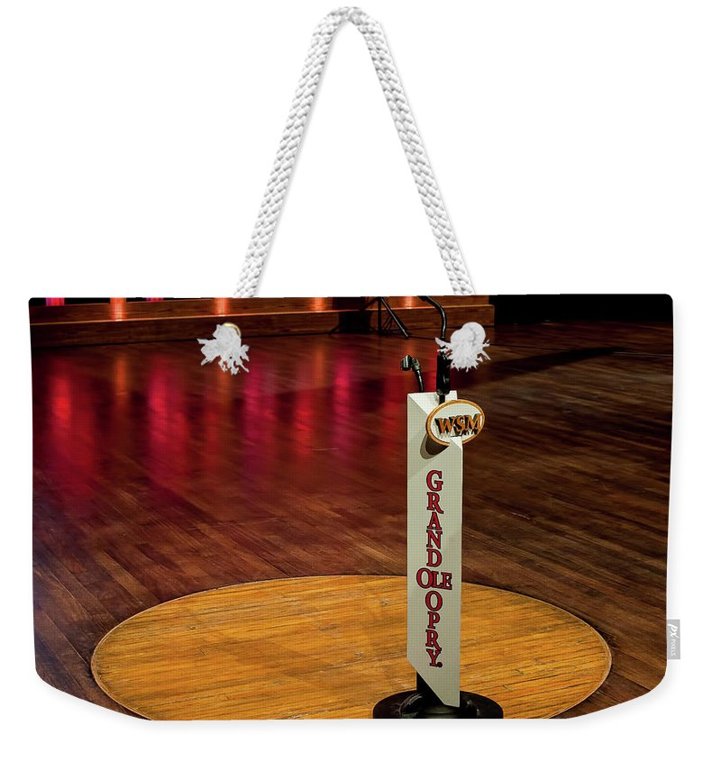 Grand Weekender Tote Bag featuring the photograph Grand Ole Opry House Stage Flooring - Nashville, Tennessee by Timothy Wildey