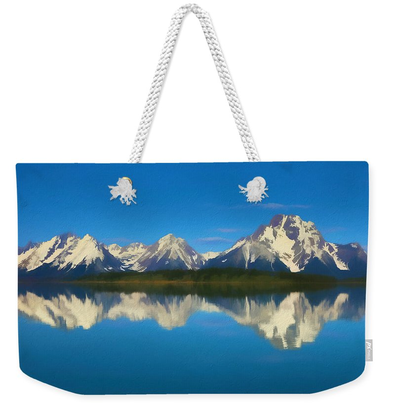 Grand Teton Reflection Wood Texture Weekender Tote Bag featuring the mixed media Grand Teton Reflection Wood Texture by Dan Sproul
