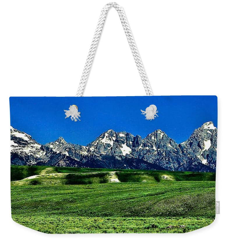 Nature Weekender Tote Bag featuring the photograph Grand Tetons by John K Sampson