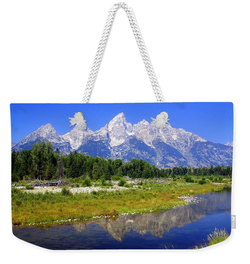 Grand Teton National Park Weekender Tote Bag featuring the photograph Grand Tetons by Marty Koch