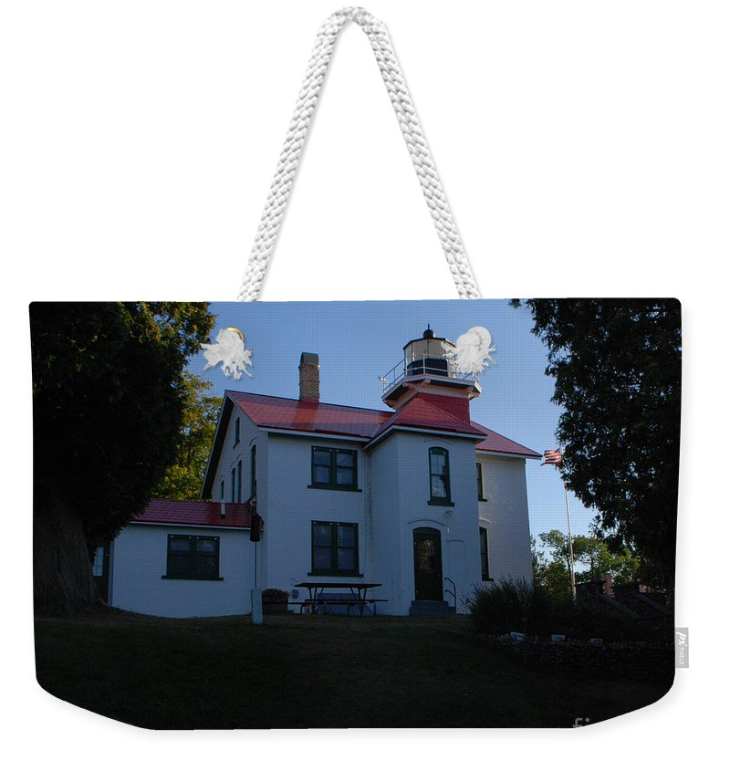 Lighthouse Weekender Tote Bag featuring the photograph Grand Traverse Light House by Grace Grogan