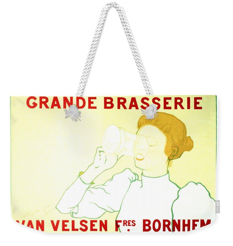 Vintage Weekender Tote Bag featuring the mixed media Grande Brasserie - Bornhem, Belgium - Vintage Advertising Poster by Studio Grafiikka