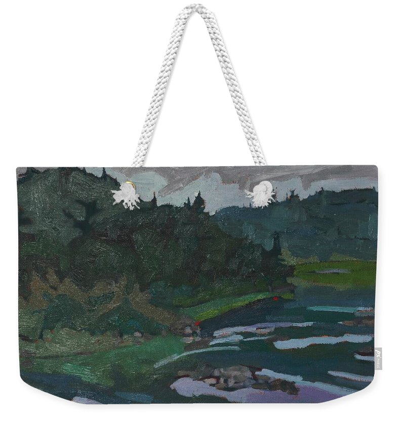 1963 Weekender Tote Bag featuring the painting Grande Chute Portage by Phil Chadwick