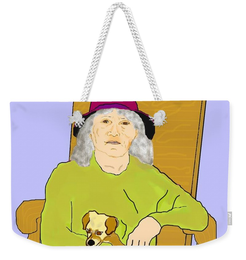Grandmother Weekender Tote Bag featuring the painting Grandma And Puppy by Pharris Art