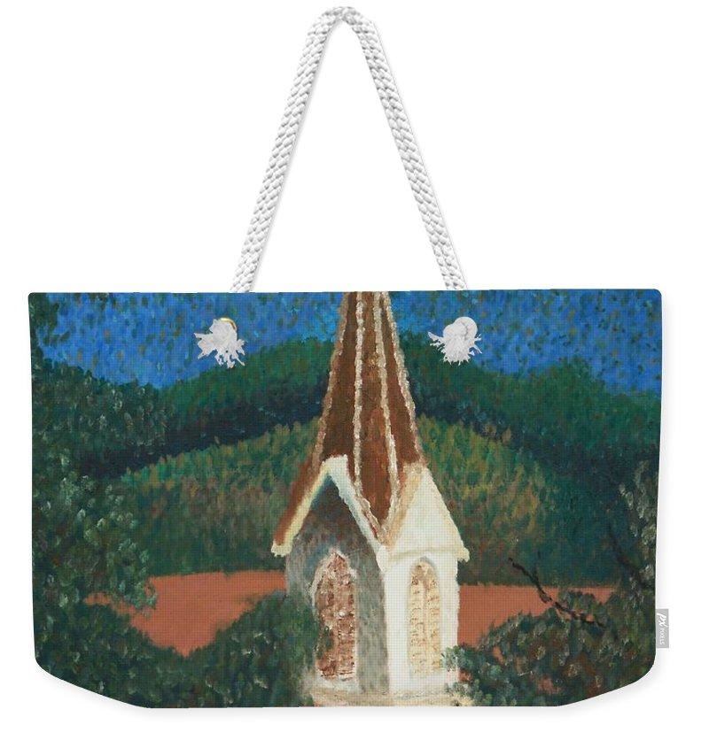 Grandma's Church Weekender Tote Bag featuring the painting Grandmas Church by Jacqueline Athmann