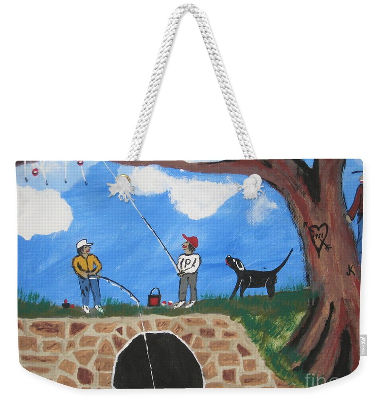 Weekender Tote Bag featuring the painting Grandpap He Did It Again. by Jeffrey Koss