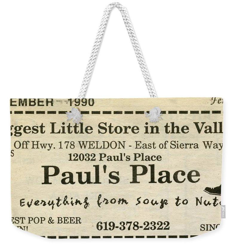 Weekender Tote Bag featuring the photograph Grandparents Old Country Store Ad by Robert Rhoads