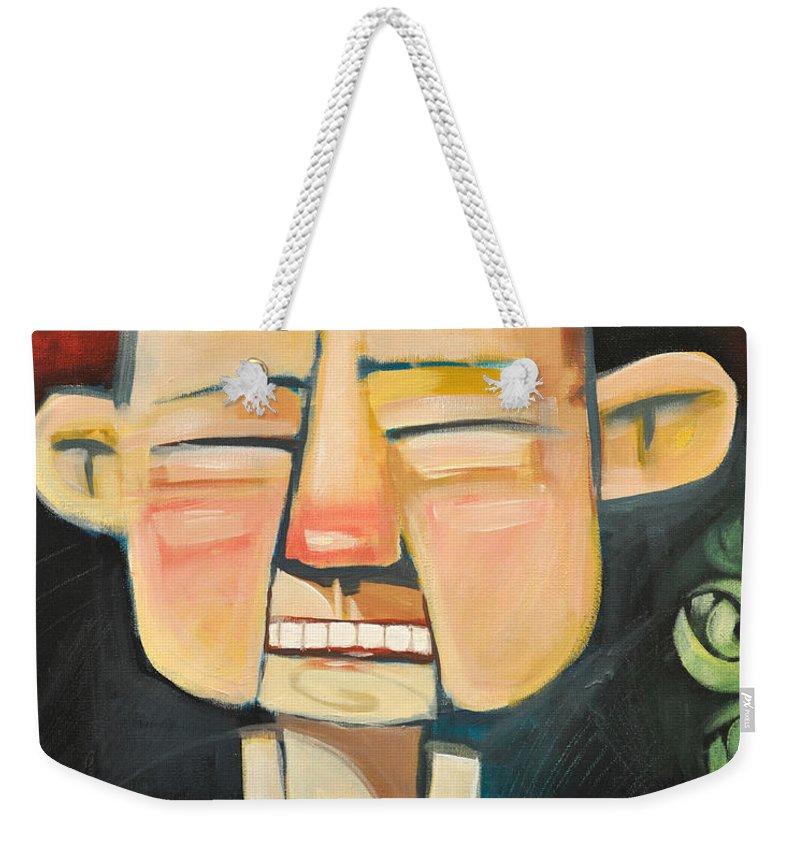Grandpa Weekender Tote Bag featuring the painting Grandpas New Teeth by Tim Nyberg
