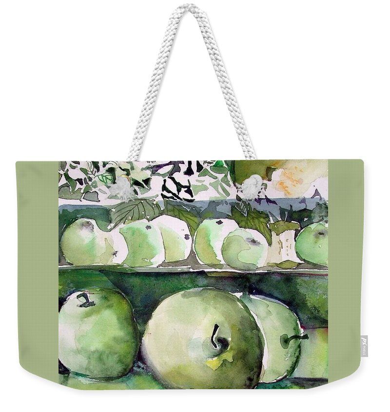 Apple Weekender Tote Bag featuring the painting Granny Smith Apples by Mindy Newman