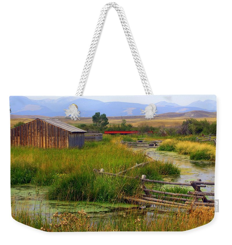 Ranch Weekender Tote Bag featuring the photograph Grant Khors Ranch Deer Lodge Mt by Marty Koch