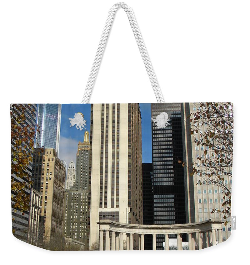 City Scene Weekender Tote Bag featuring the photograph Grant Park Chicago by Jan Gilmore