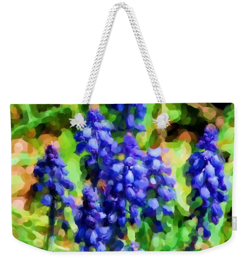 Grape Hyacinths Weekender Tote Bag featuring the photograph Grape Hyacinths by David Lane