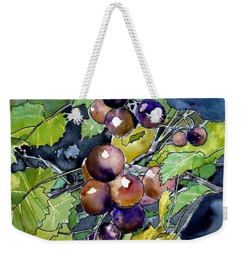 Grape Weekender Tote Bag featuring the painting Grape Vine Still Life by Derek Mccrea