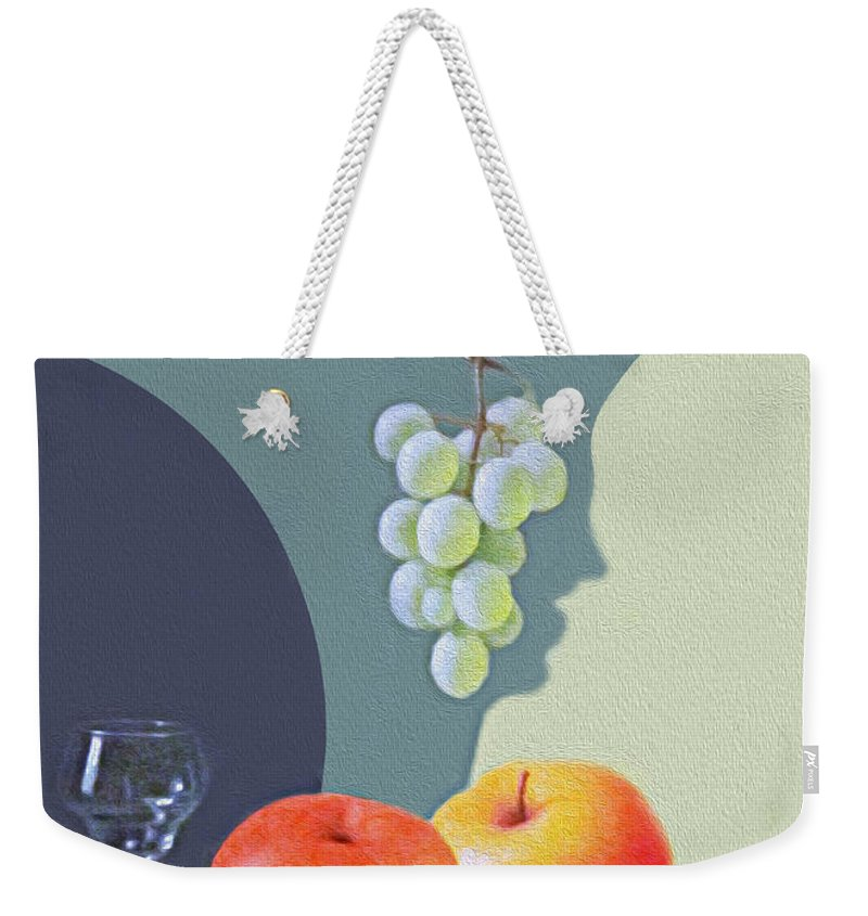 Still Life Weekender Tote Bag featuring the photograph Grapes And Apples by Munir Alawi