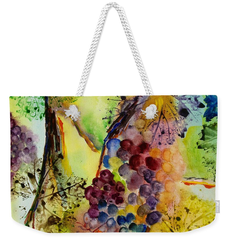 Watercolor Weekender Tote Bag featuring the painting Grapes And Leaves IIi by Karen Fleschler