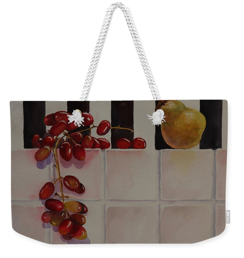 Fruit Weekender Tote Bag featuring the painting Grapes And Pear by Ruth Kamenev
