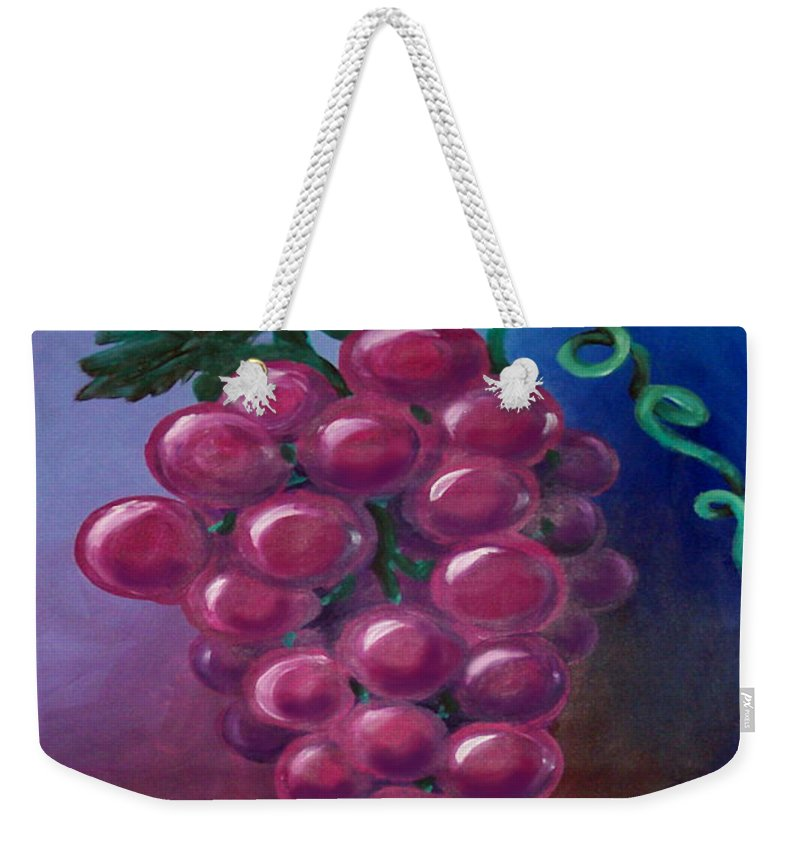 Grape Weekender Tote Bag featuring the painting Grapes by Kevin Middleton