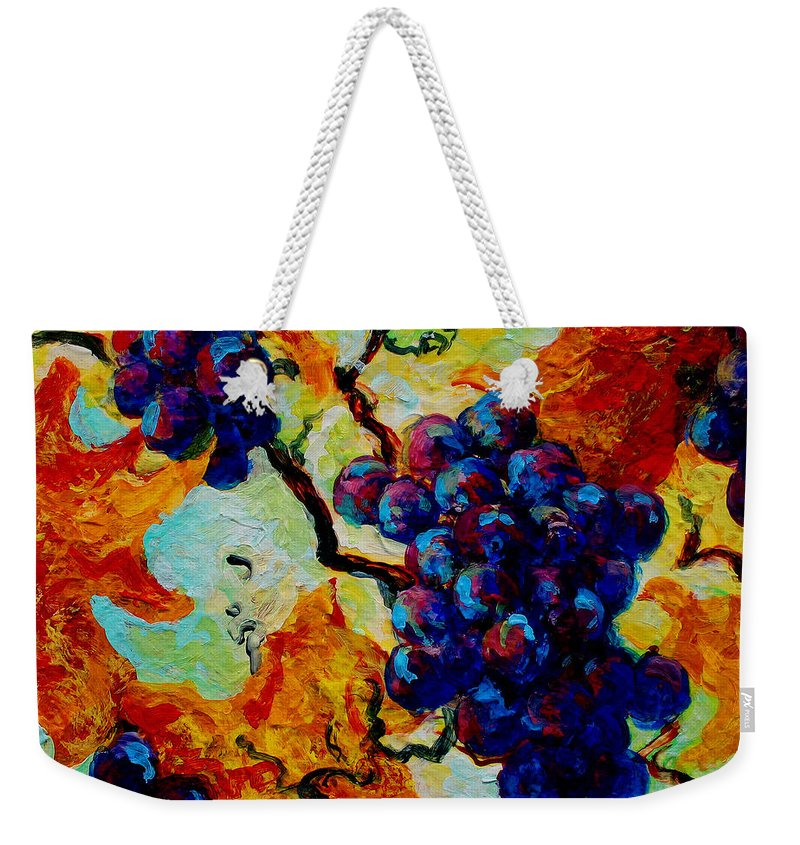 Grapes Weekender Tote Bag featuring the painting Grapes Mini by Marion Rose