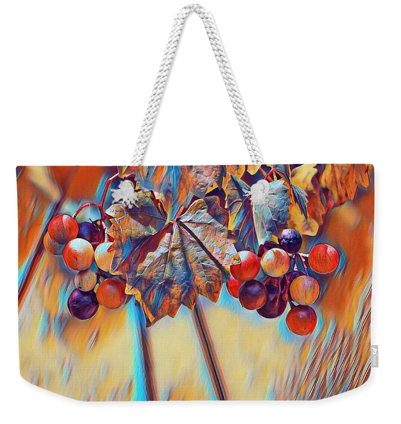 Grapes Weekender Tote Bag featuring the photograph Grapevine Art by Selena Wagner