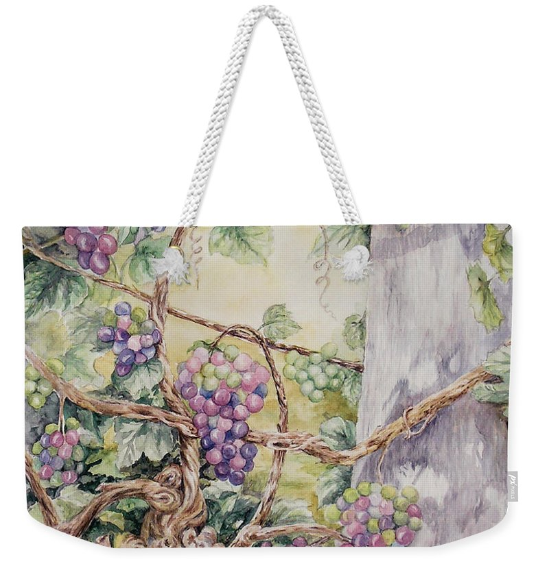 Vines Weekender Tote Bag featuring the painting Grapevine Laurel Lakevineyard by Valerie Meotti