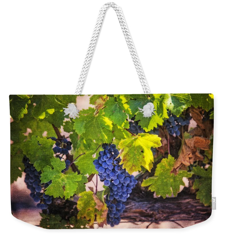 Grapes Weekender Tote Bag featuring the photograph Grapevine With Texture by Garry Gay