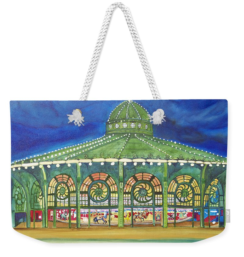 Night Paintings Of Asbury Park Weekender Tote Bag featuring the painting Grasping The Memories by Patricia Arroyo