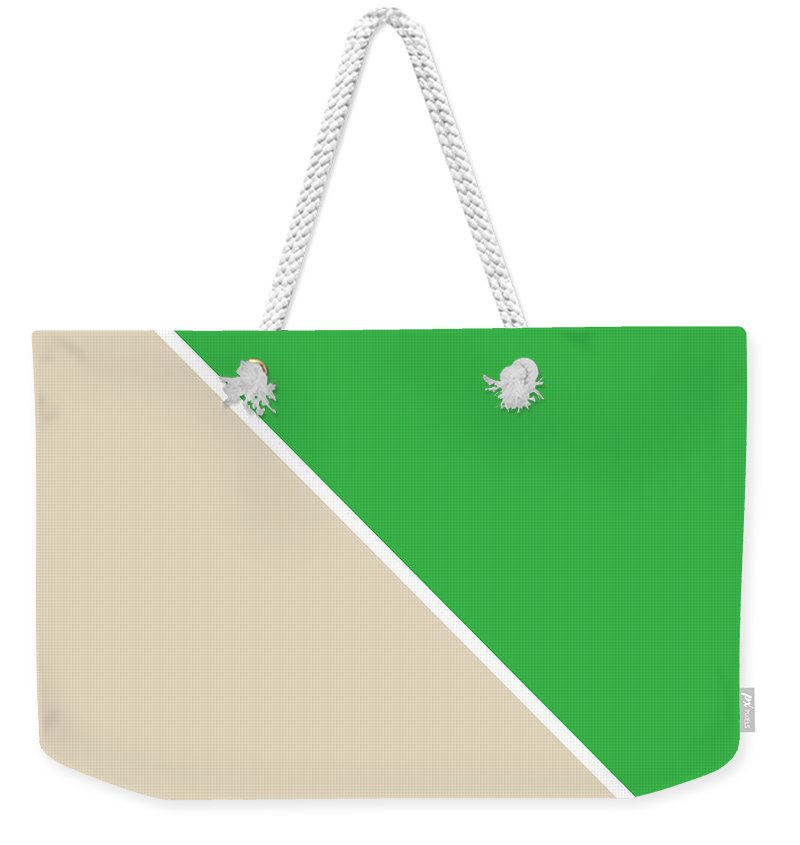 Green Weekender Tote Bag featuring the digital art Grass And Sand Geometric by Linda Woods