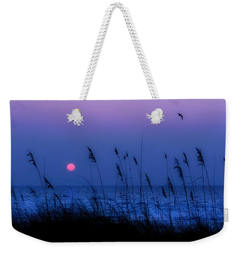 Grass Weekender Tote Bag featuring the photograph Grasses Frame The Setting Sun In Florida by Mal Bray