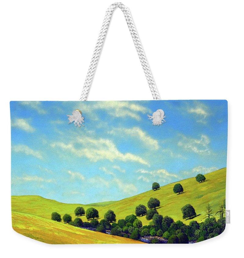 Wilderness Weekender Tote Bag featuring the painting Grassy Hills At Meadow Creek by Frank Wilson