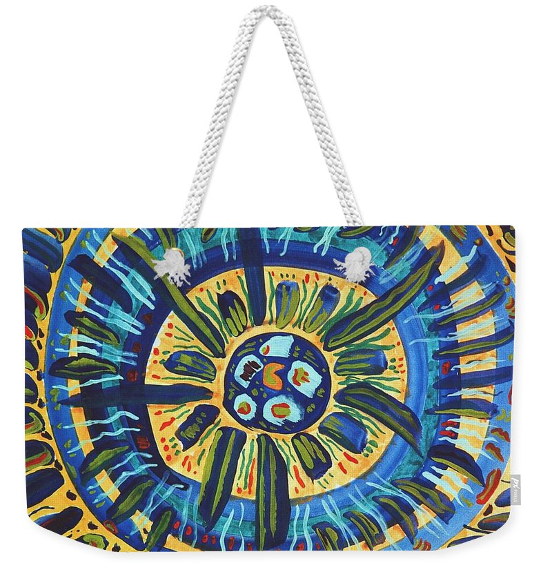 Gratitude Weekender Tote Bag featuring the painting Grateful Heart by Ishwar Malleret