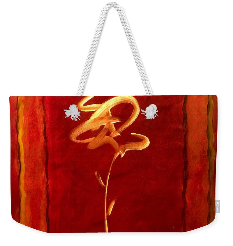 Abstract Flower Weekender Tote Bag featuring the painting Gratitude by Shannon Grissom