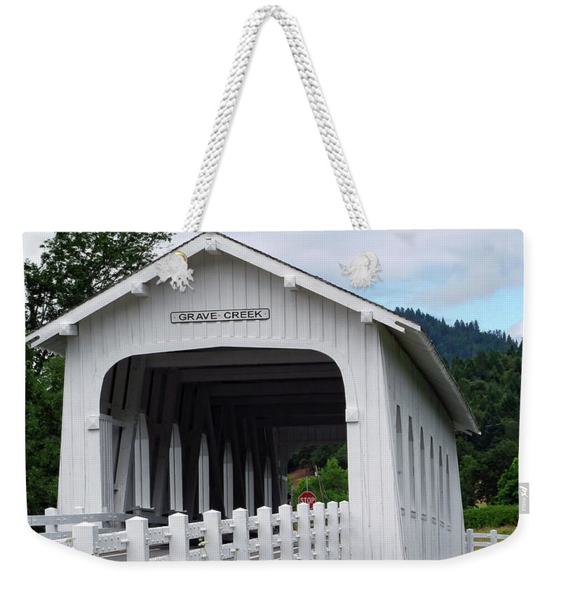 Grave Creek Covered Bridge Weekender Tote Bag featuring the photograph Grave Creek Bridge by Methune Hively