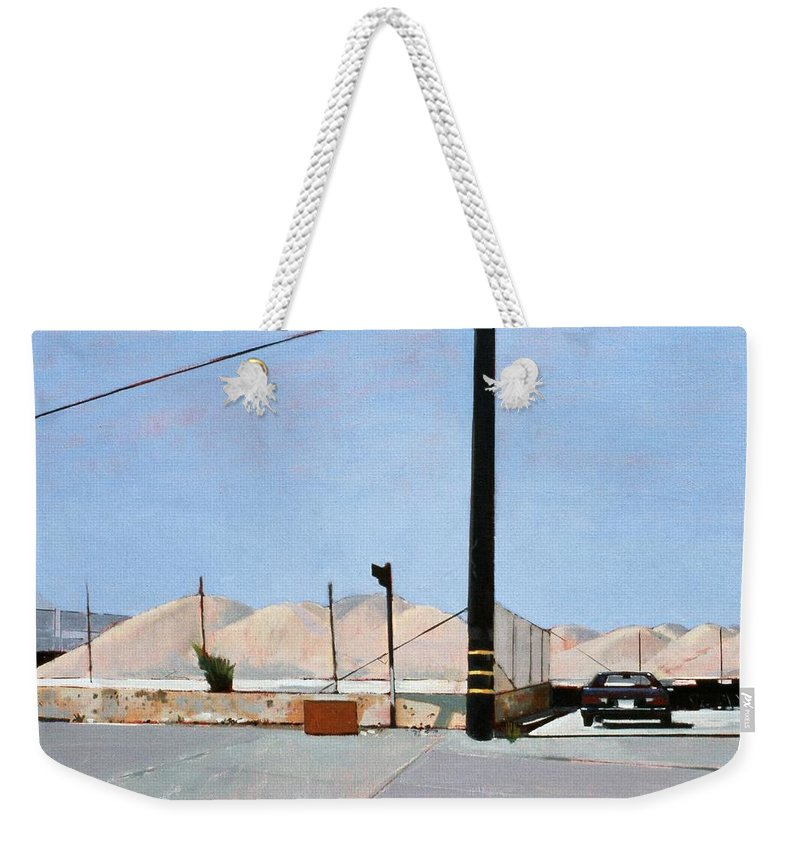 Gravel Piles Downtown La Weekender Tote Bag featuring the painting Gravel Piles Downtown La by Peter Wilson