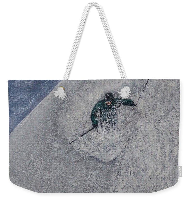 Ski Weekender Tote Bag featuring the painting Gravity by Michael Cuozzo