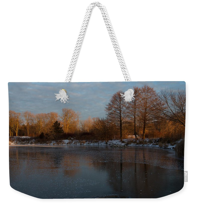 Georgia Mizuleva Weekender Tote Bag featuring the photograph Gray And Amber - An Early Winter Morning On The Lake Shore by Georgia Mizuleva
