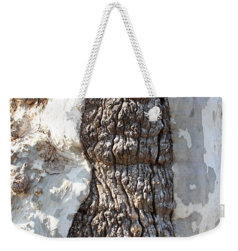 Gray Bark Weekender Tote Bag featuring the photograph Gray Bark Abstract by Carol Groenen