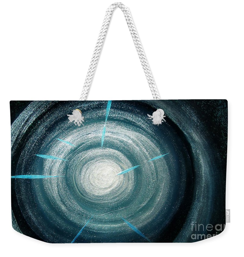Sparkly Weekender Tote Bag featuring the painting Gray-blue Star. Sparkling Light by Sofia Metal Queen