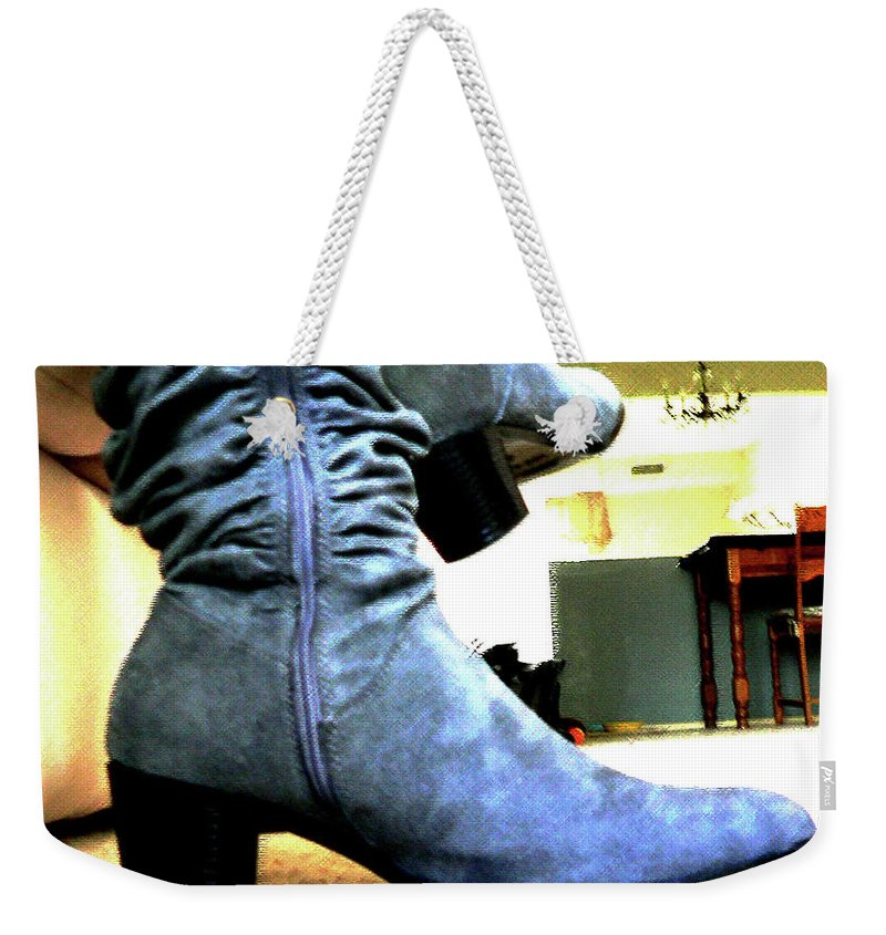 Gray Weekender Tote Bag featuring the photograph Gray Boots by Blaire Daniels